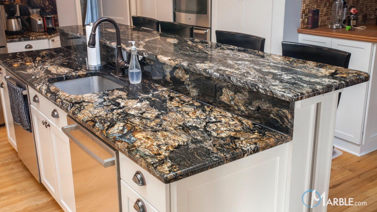 granite kitchen countertops.  Titanium Black Granite Kitchen Countertops
