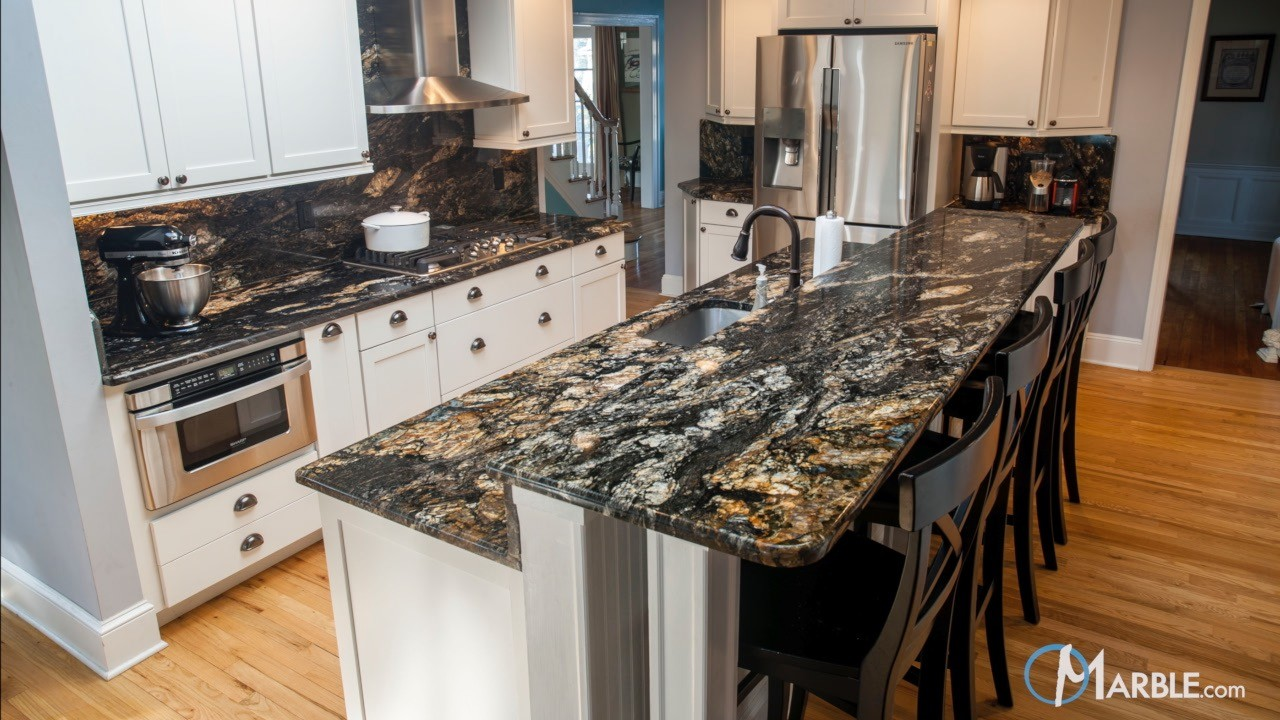 Titanium black granite kitchen countertops