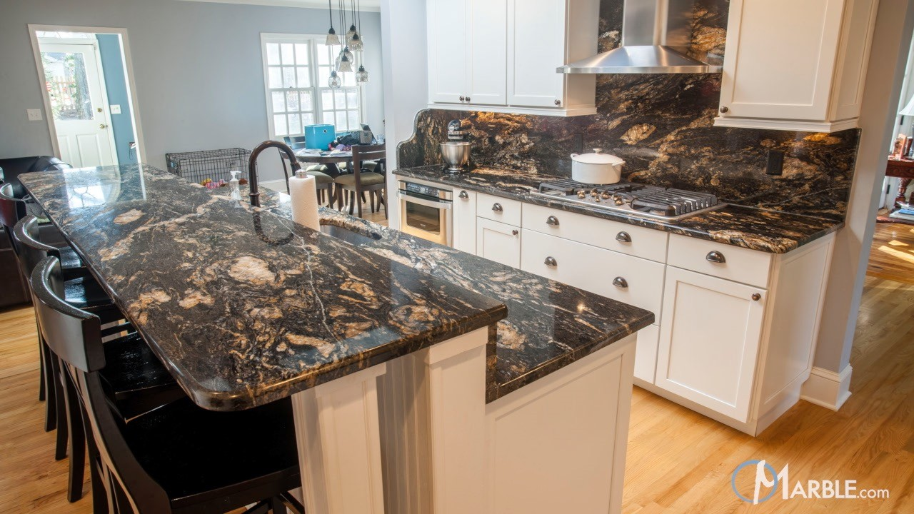 Black Granite Countertops : Titanium black granite kitchen countertops