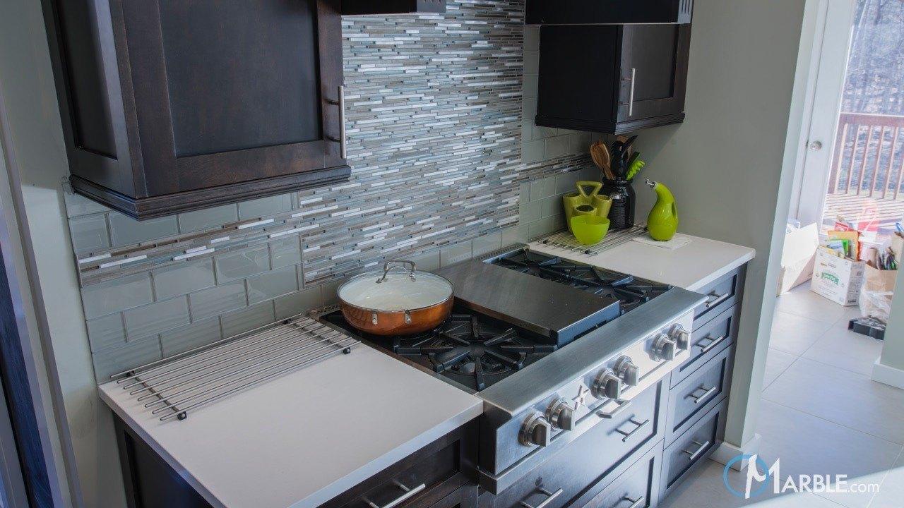 Organic White Quartz Kitchen Countertops | Marble.com