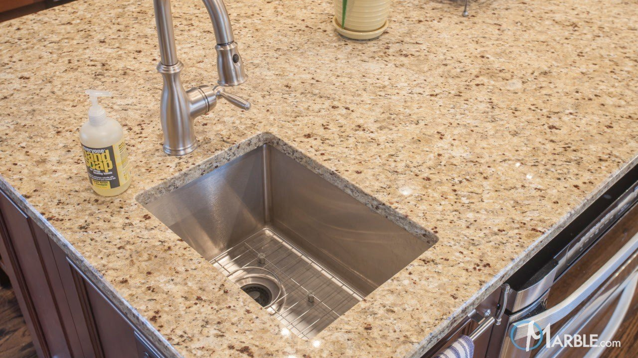 Santa Cecilia Granite Kitchen Countertops in a Large Kitchen | Marble.com
