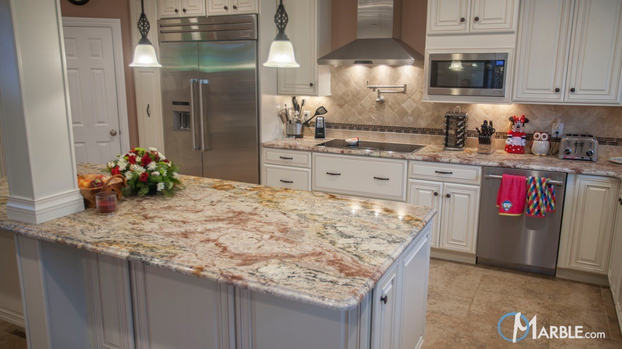 Typhoon Bordeaux Kitchen Granite Countertops | Marble.com