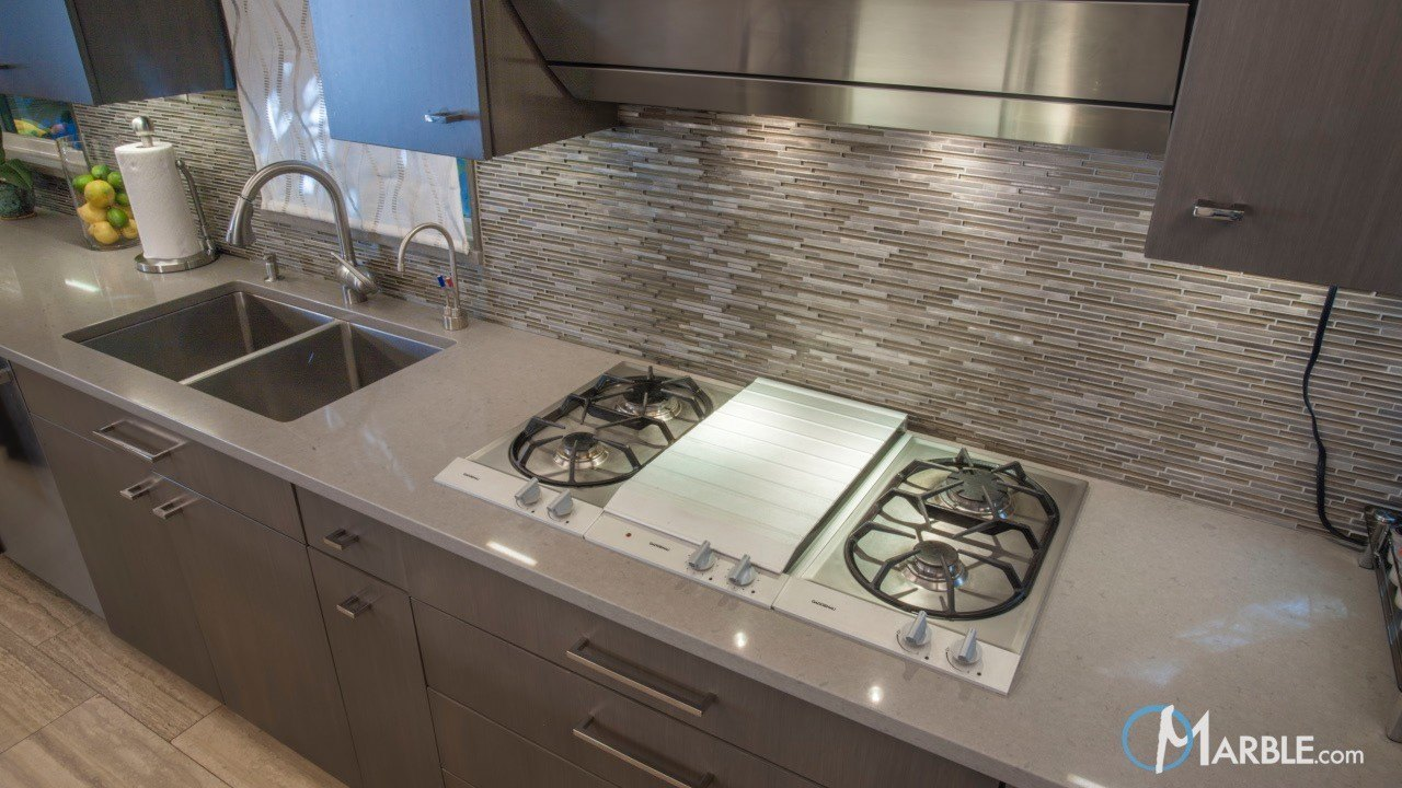 Pebble and Ravel Quartz Kitchen Countertops | Marble.com