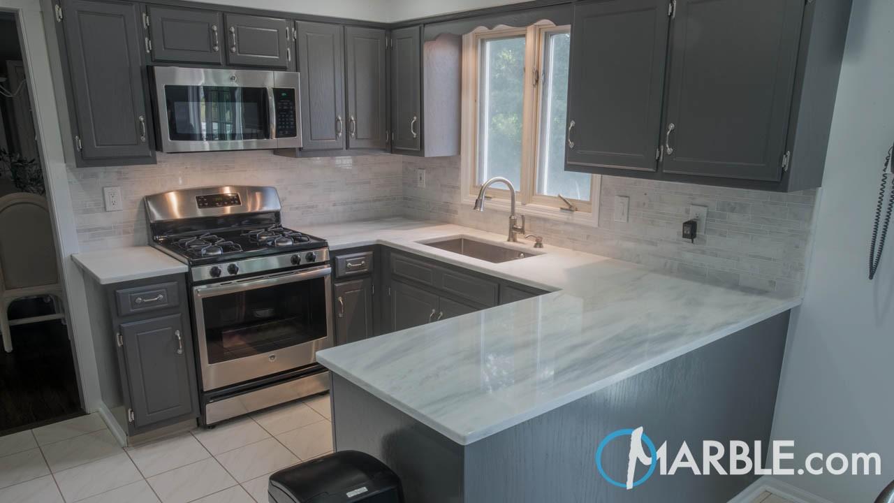 Cirrus White Quartzite Kitchen Countertops