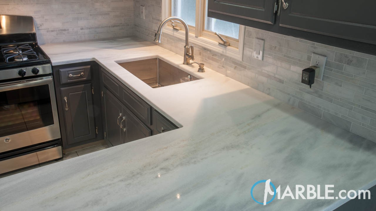 Cirrus White Quartzite Kitchen Countertops | Marble.com