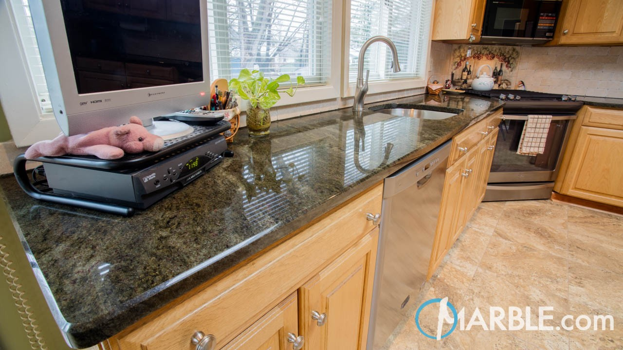 Tropical Green Kitchen Granite Countertops | Marble.com
