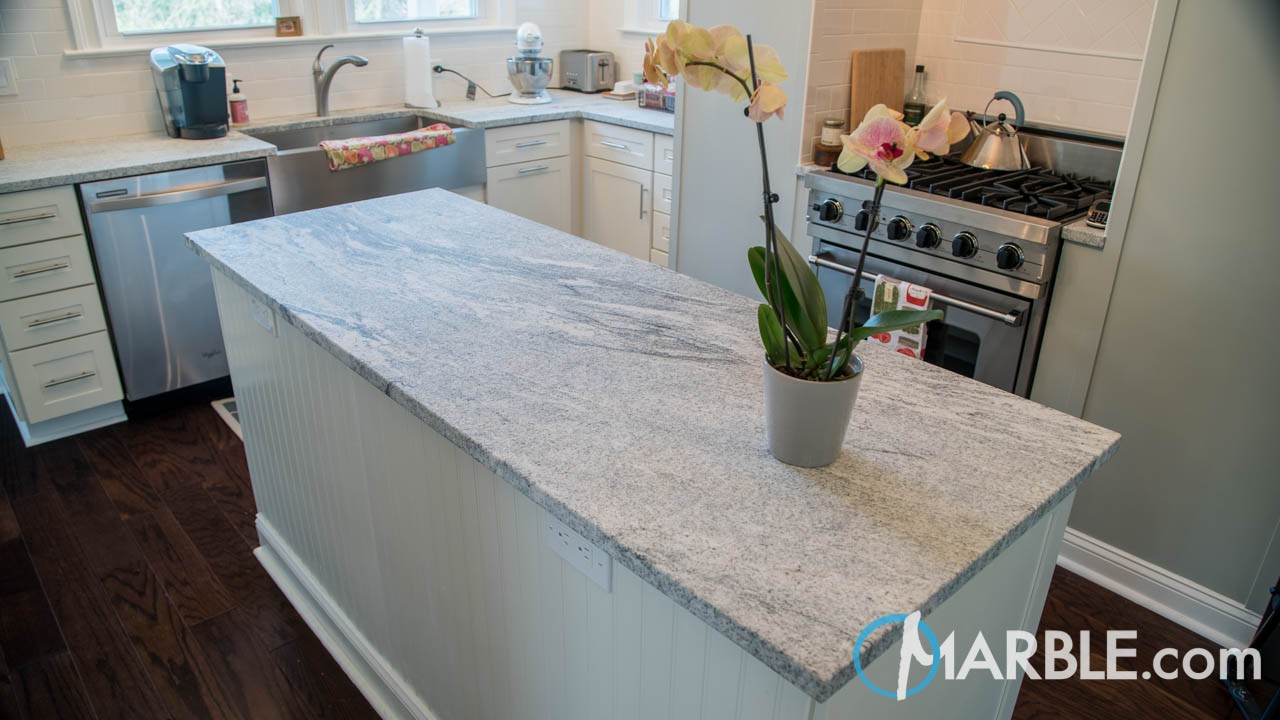 Viscont White Brushed Kitchen Granite Countertops | Marble.com