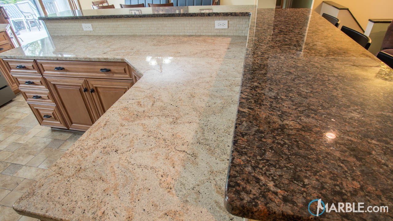 Ivory Gold and Terra Brown Kitchen Granite Countertops | Marble.com