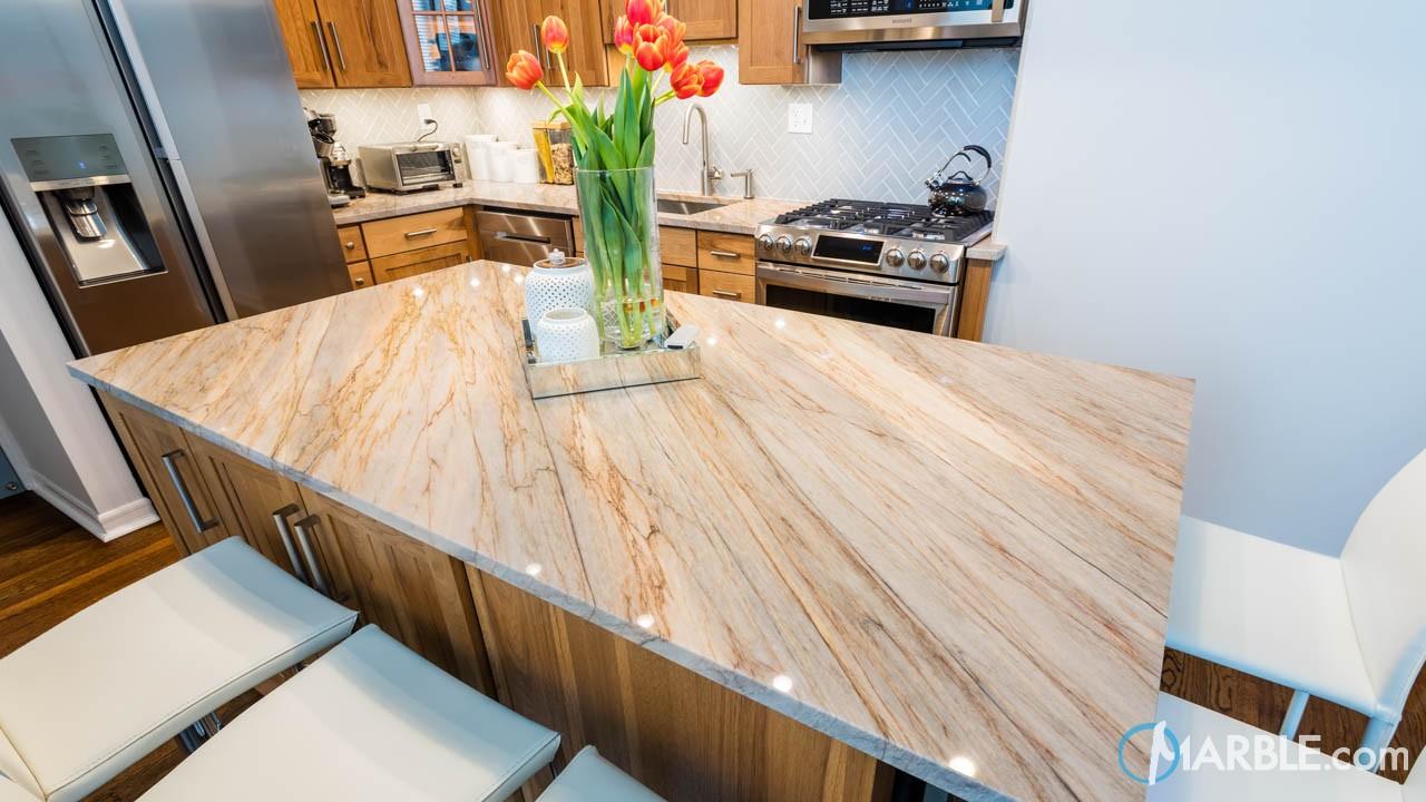 Aurora Blue Quartzite Kitchen Countertops | Marble.com