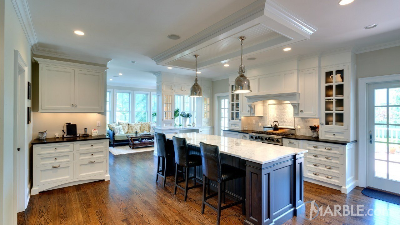 Classic Marble Island with Contrasting Granite Countertops | Marble.com