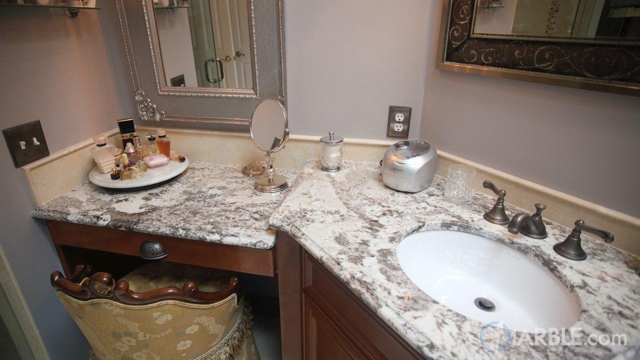 Bianco Antico Granite Countertops in a Classic Bathroom