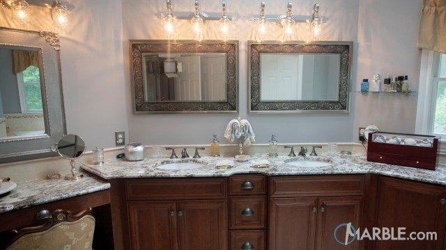 Bianco Antico Granite Countertops In A Classic Bathroom