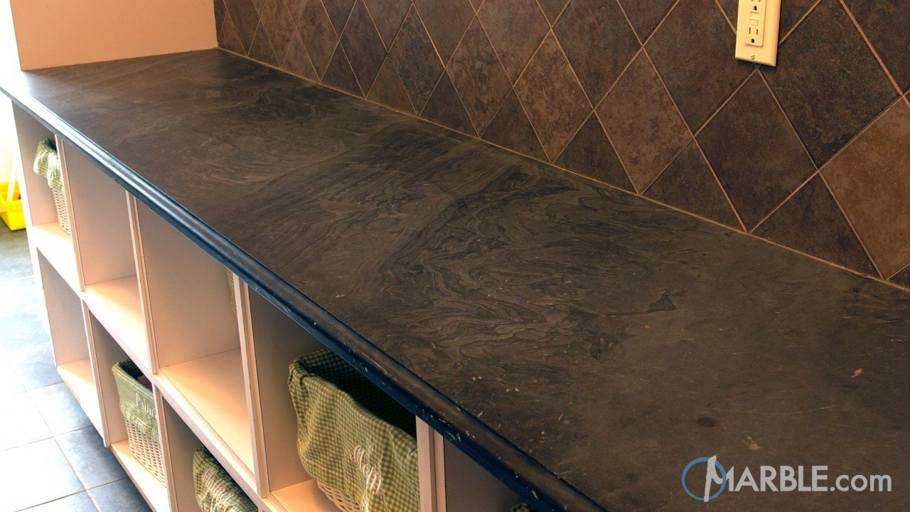 Black Cleft Slate Laundry Room Countertop | Marble.com