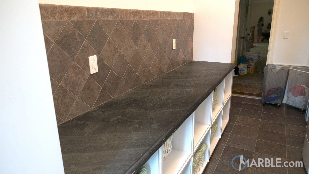 Countertop Materials For Laundry Room : Black Cleft Slate Laundry Room Countertop
